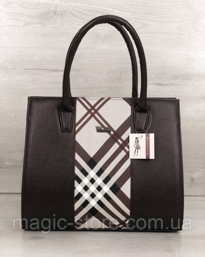 Женская сумка бочонок коричневая со вставкой барбери