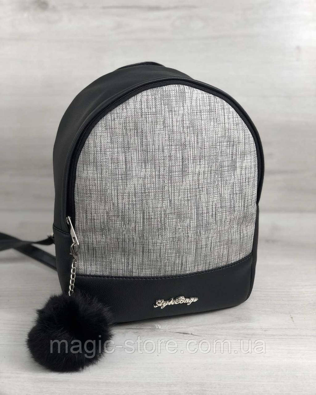 Стильний молодіжний рюкзак Мері сірий блиск