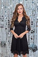 Приталенное женское гипюровое платье с красивым декольте  42, 44, 46, 48