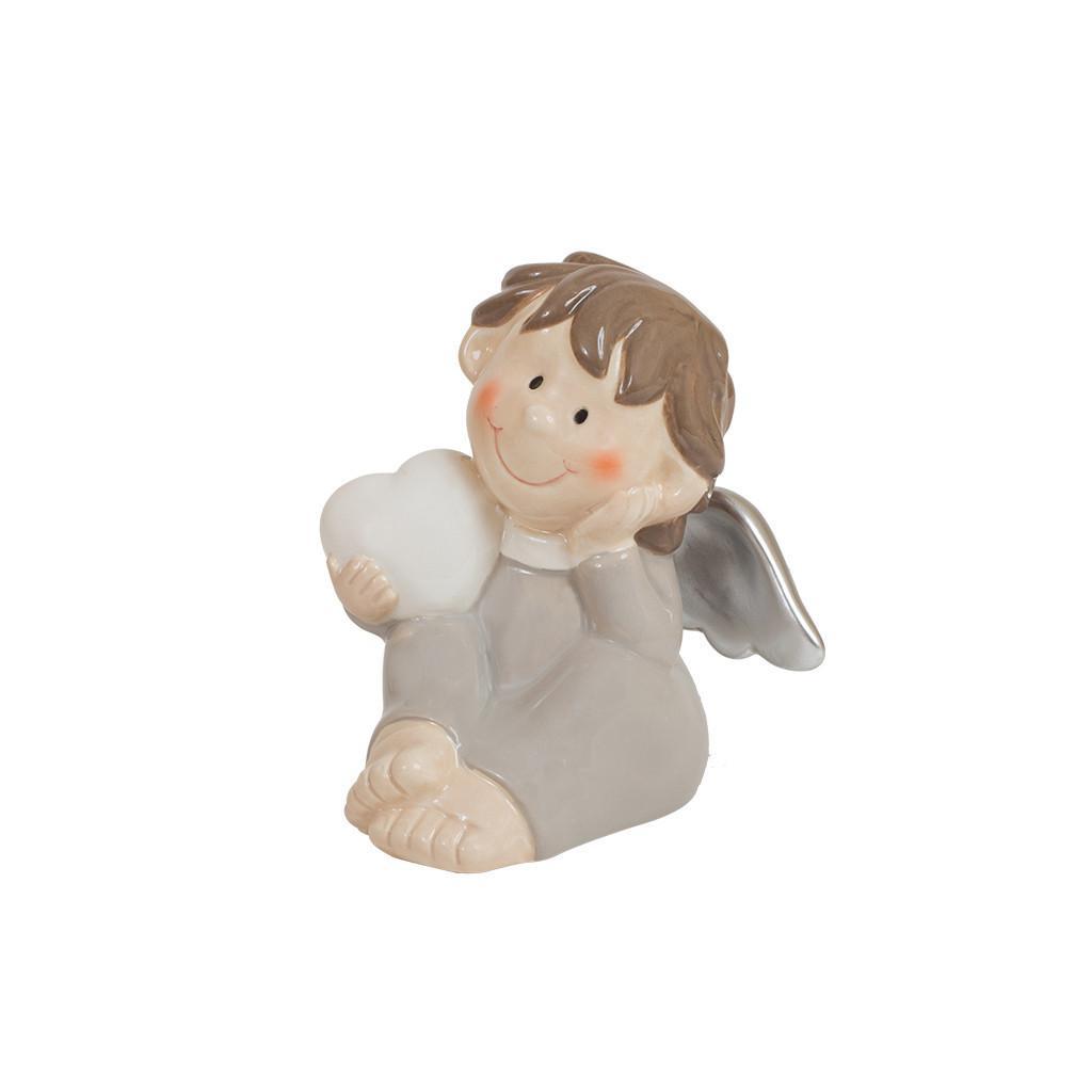 Фигурка Ангел с сердцем серый 9см 107859