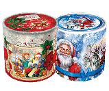 Новорічна картонна упаковка, Дід Мороз срібло, картонний тубус, 16х15,2 см, Кругла коробка з кришкою, фото 2