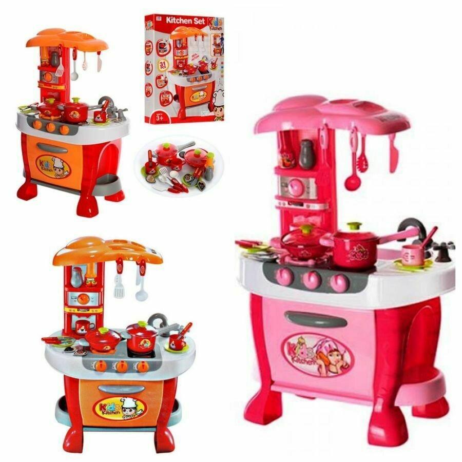 Детская кухня, звук шипенияи варки, светятся канфорки, 31 предмет, игрушечные кухни