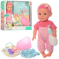 Кукла Пупс 32см,горшок, посуда, подгузник,ключи, звук, на батарейках(таб), в коробке