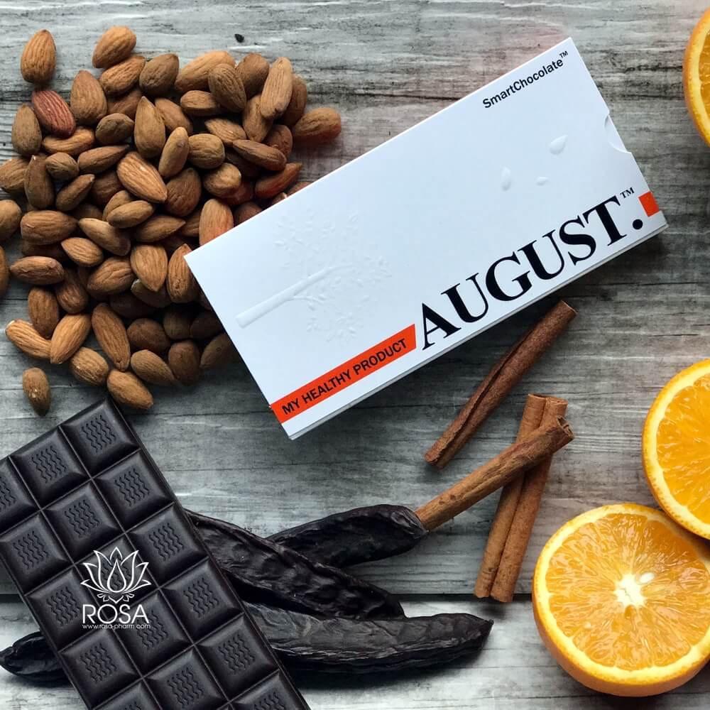 Натуральный шоколад без сахара с апельсином и миндалем, 80 грамм