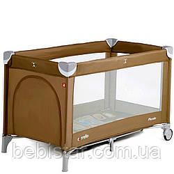 Детский игровой манеж шоколадно-бежевый на колесах CARRELLO Piccolo CRL-9203 деткам от рождения