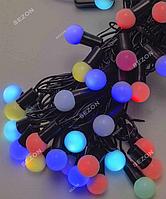 Гирлянда ШАРИКИ 18мм 40 LED, черный провод,7 м+переходник, 7-ми цветная