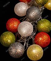 Гирлянда Клубок из цветной нити 50 мм  12 LED,4 м, теплый белый цвет