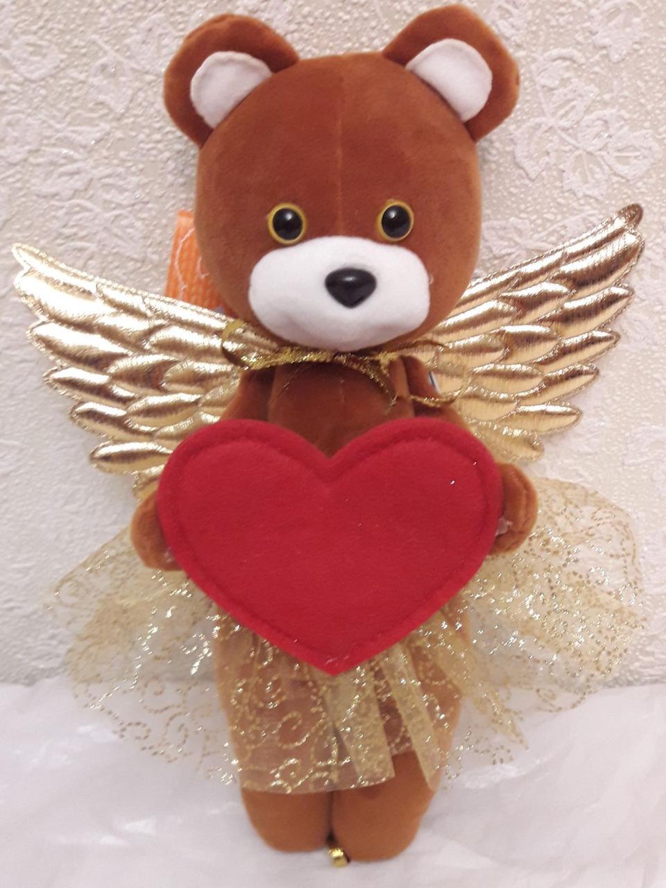 М'яка іграшка 30см – Янголятко-ведмежа з серцем
