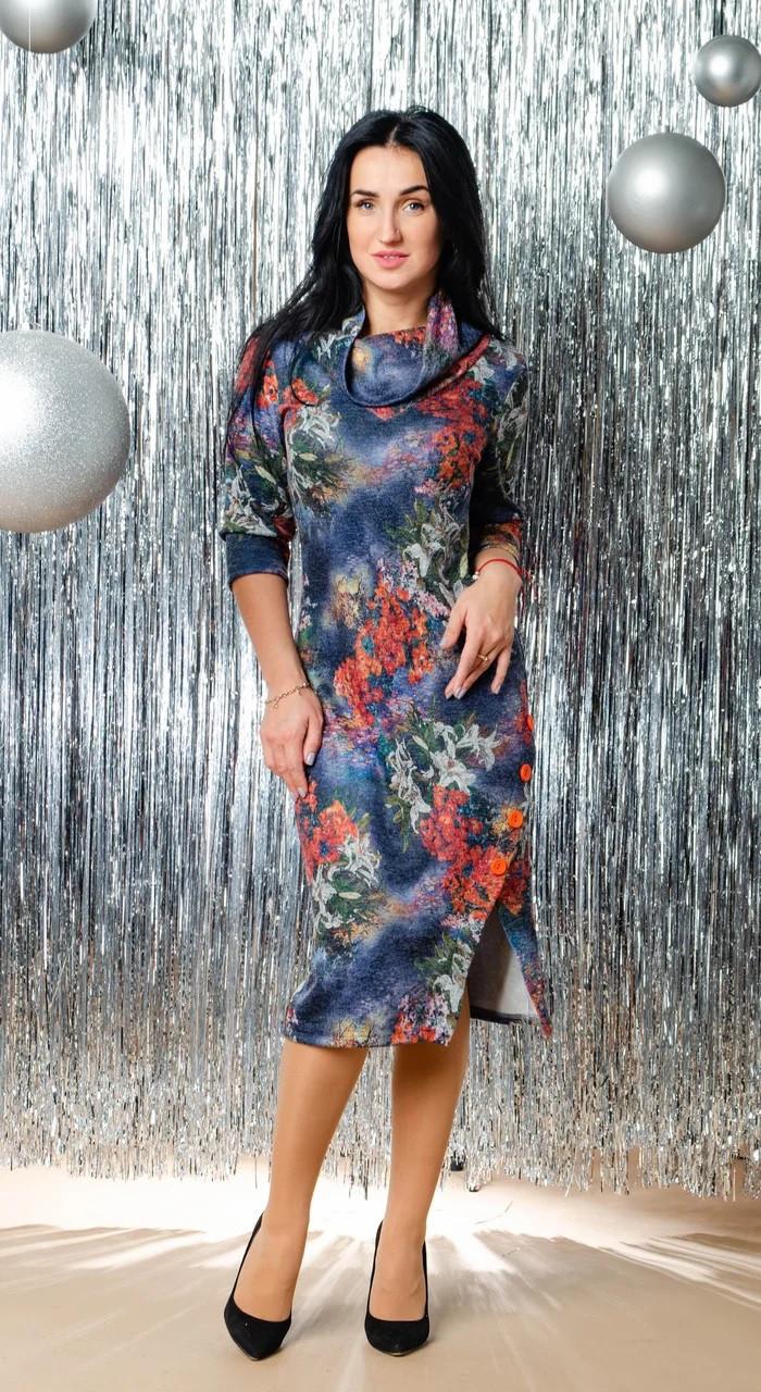 Элегантное женское платье с цветочным узором