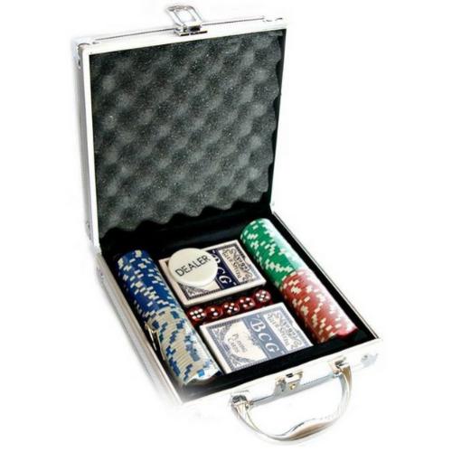 Набор для покера на 100 фишек в алюминиевом кейсе с фишками без номинала