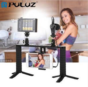 Профессиональный набор блогера PULUZ 7в1 (рамка для телефона+микрофон+LED подсветка)