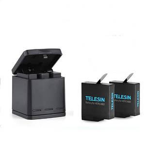 Зарядное устройство для аккумуляторов Gopro Hero 7/6/5  TELESIN+ 2 Аккумулятора TELESIN 1220 мА