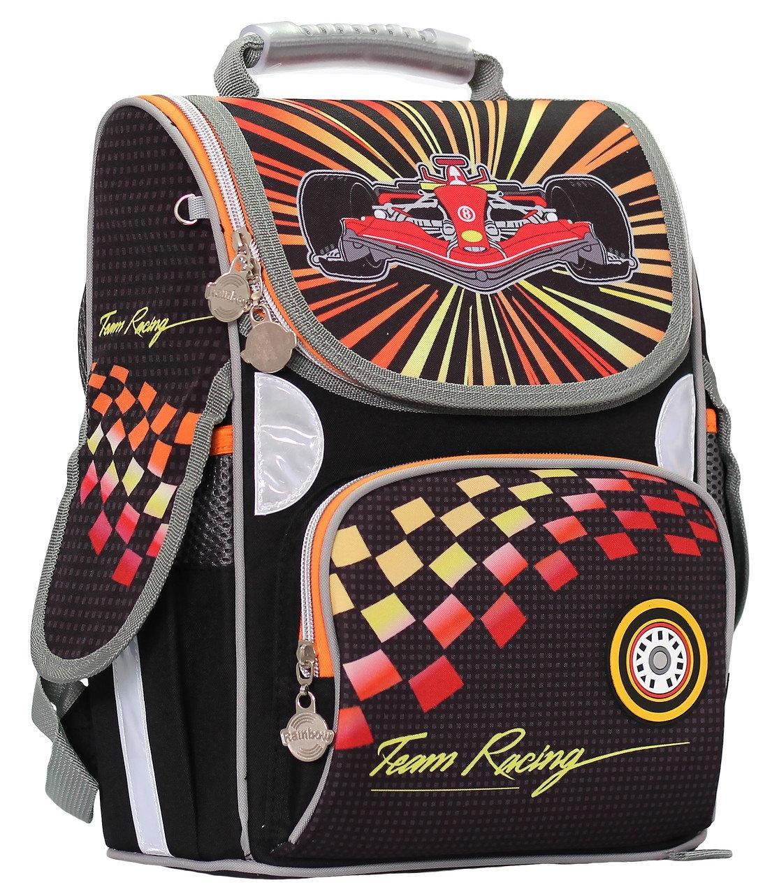 Рюкзак ранец школьный каркасный Team Racing ортопедический RAINBOW