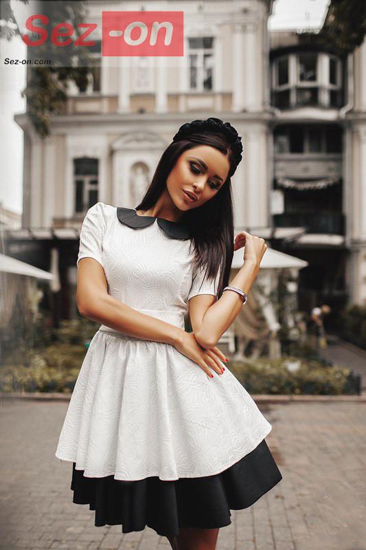 2e629a770e7 Платье женское с пышной юбкой и черным воротником - Белый - sez-on.com