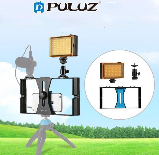 Набір блогера PULUZ PKT3021 (3в1) рамка кріплення для смартфона+башмак+LED підсвічування