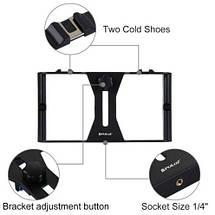 Набір блогера PULUZ PKT3021 (3в1) рамка кріплення для смартфона+башмак+LED підсвічування, фото 2