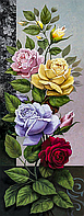 """Алмазная вышивка. Набор """"Панель с розами"""" 50*129 см, полная вышивка, 35 цветов"""
