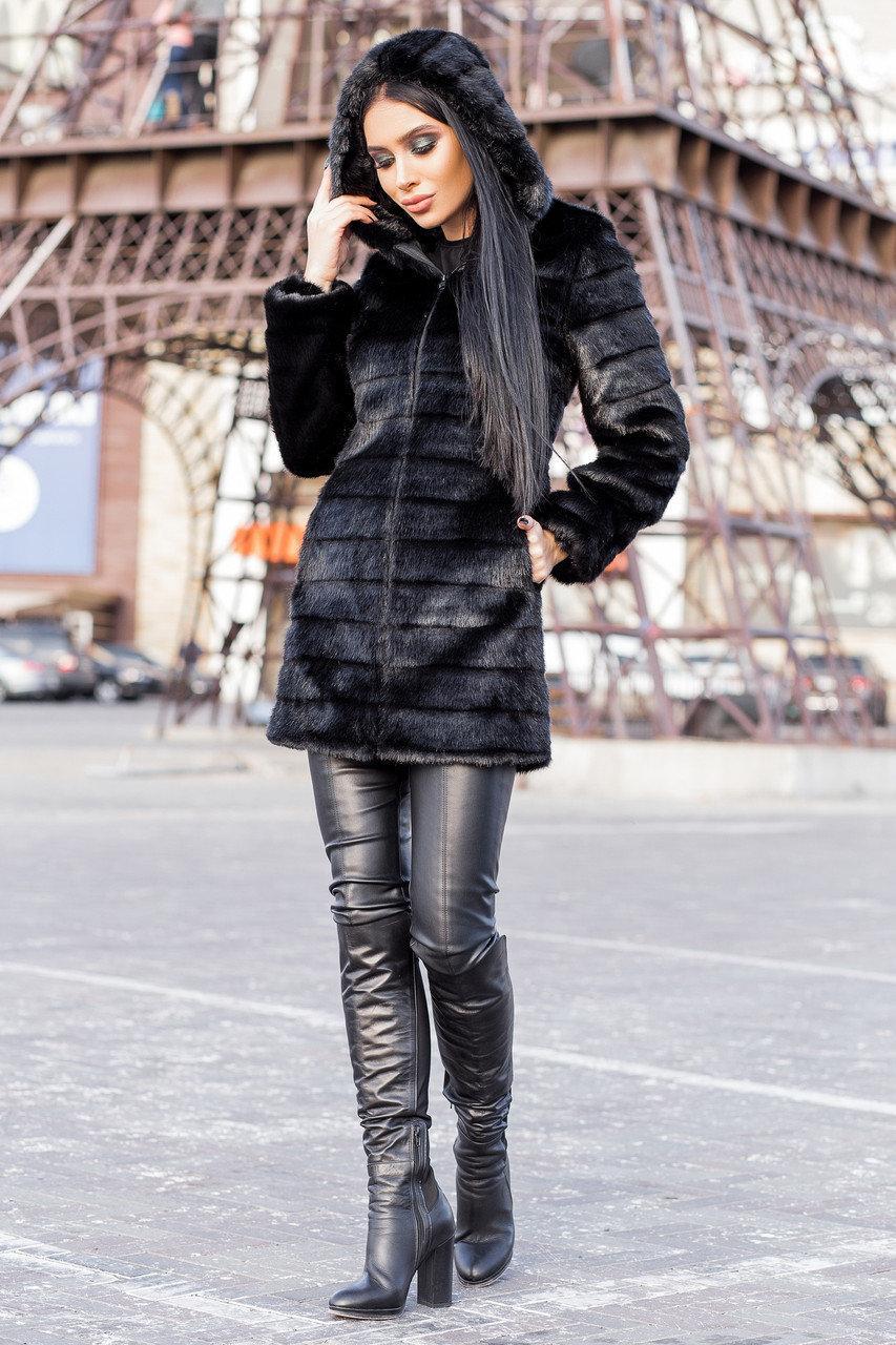 Черная женская шуба 90 см до колен с капюшоном мех под норку vN3245