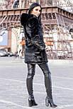 Черная женская шуба 90 см до колен с капюшоном мех под норку vN3245, фото 2