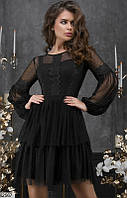 Платье женское нарядное красивое гипюр/сетка 42,44,46 размеров,цвет черный