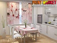 Фотошторы для кухни яблоневый цвет
