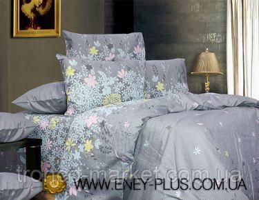 Евро постельный комплект Серый/Цветы Сатин С0166