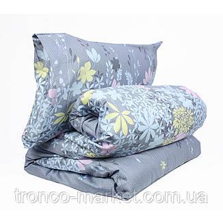 Евро постельный комплект Серый/Цветы Сатин С0166, фото 2