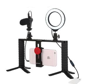 Набор блогера 9в1 Puluz PKT3028 ( микрофон, кольцевая лампа, рамка для телефона, штатив)