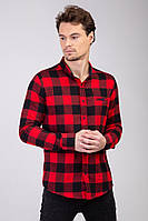 Мужская рубашка утепленная красная в клетку Турция 2472