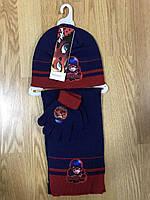 Комплект шапка с перчатками + шарф детские Disney, в остатке 52/54 рр