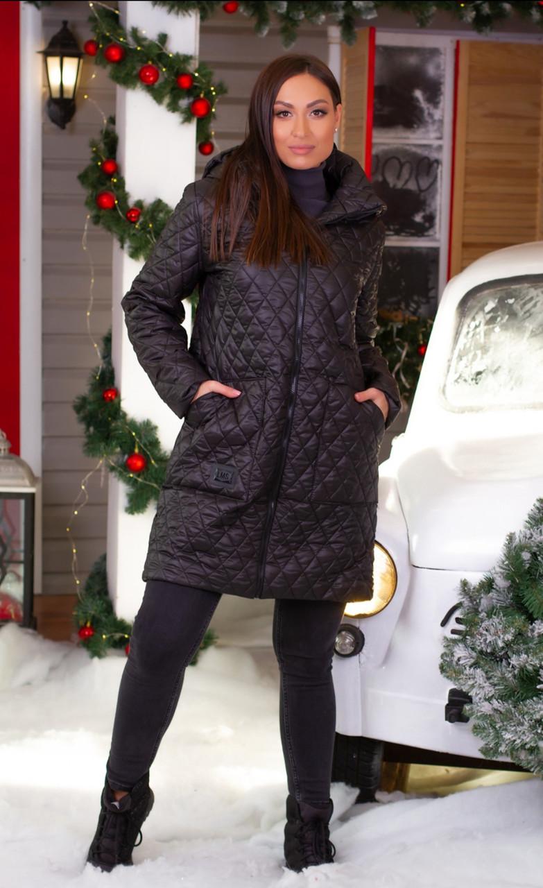 Пальто куртка стьобаний на синтепоні чорний, 48-58