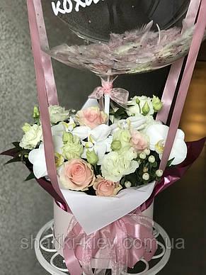 Букет в коробочке с цветами и Шар Баблс с индивидуальной надписью и перьями 23, фото 2