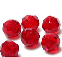 Бусины хрустальные шар 10 мм красные (72 шт) кр. огранка