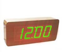Цифровые Настольные Деревянные Часы С Подсветкой 865-4 Green