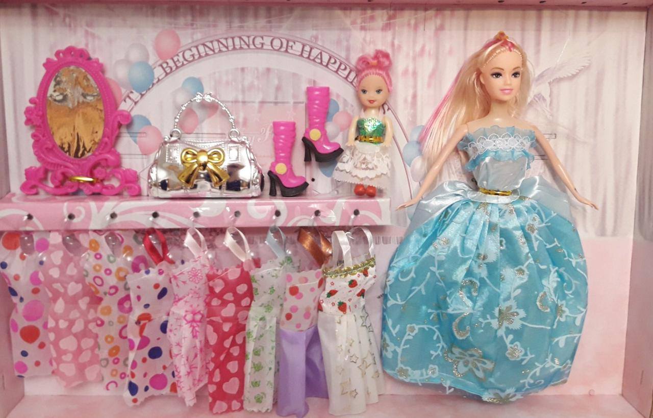 Лялька 27см з донькою 10см, сукні, аксесуари