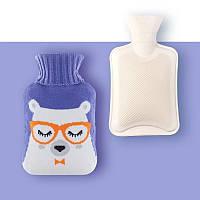 Грелка резиновая водяная для тела/ног/рук в чехле тип А4 Медведь фиолетовая (GI-16921)