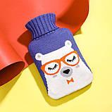 Грелка резиновая водяная для тела/ног/рук в чехле тип А4 Медведь 1000мл фиолетовая (GI-16921), фото 2