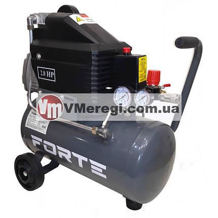 Компрессор для дома поршневой воздушный Forte FL-2T24N одноцилиндровый 24л 1,5кВт, фото 2