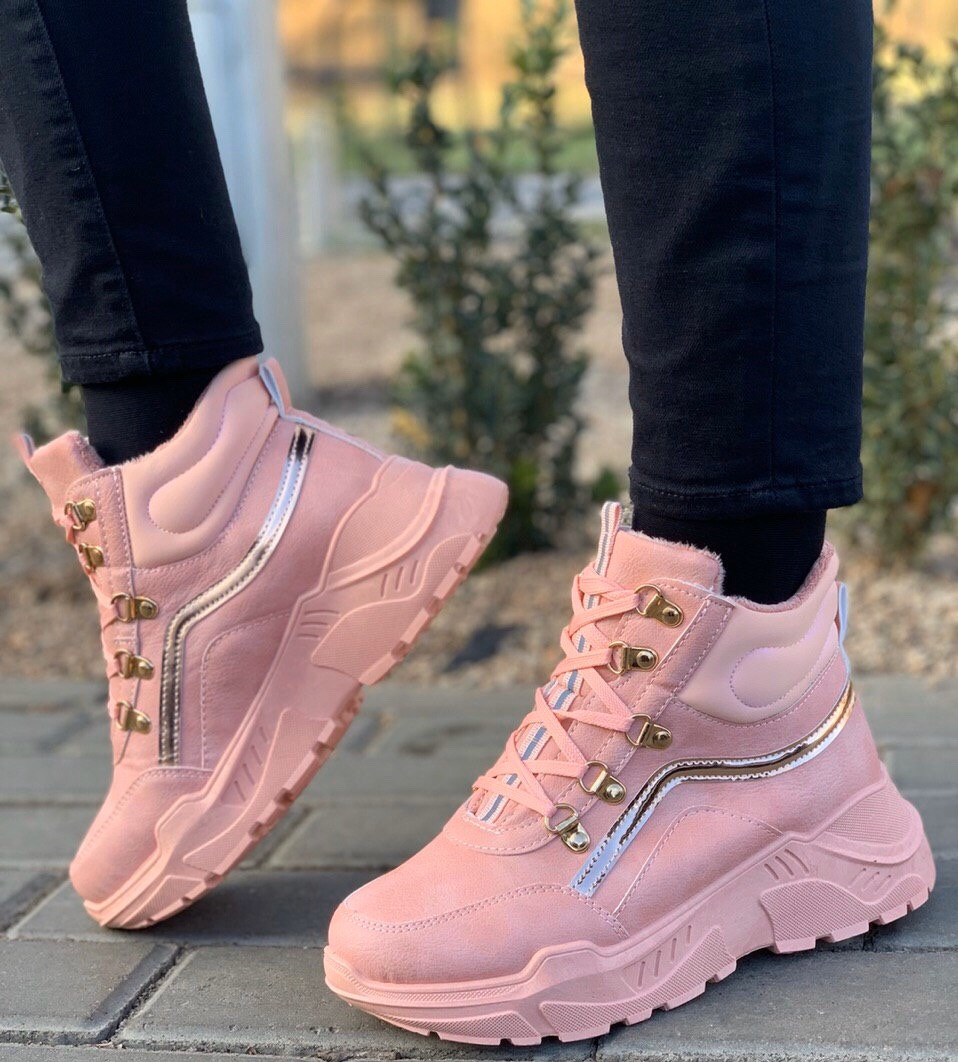 Кроссовки женские евро зима 8 пар в ящике розового цвета 36-41