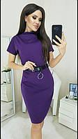 Платье с поясом трикотажное женское СЛИВА (ПОШТУЧНО)