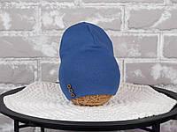 Двухслойная шапка с пуговками, синяя