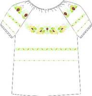 Сорочка женская под бисер, белая, короткий рукав