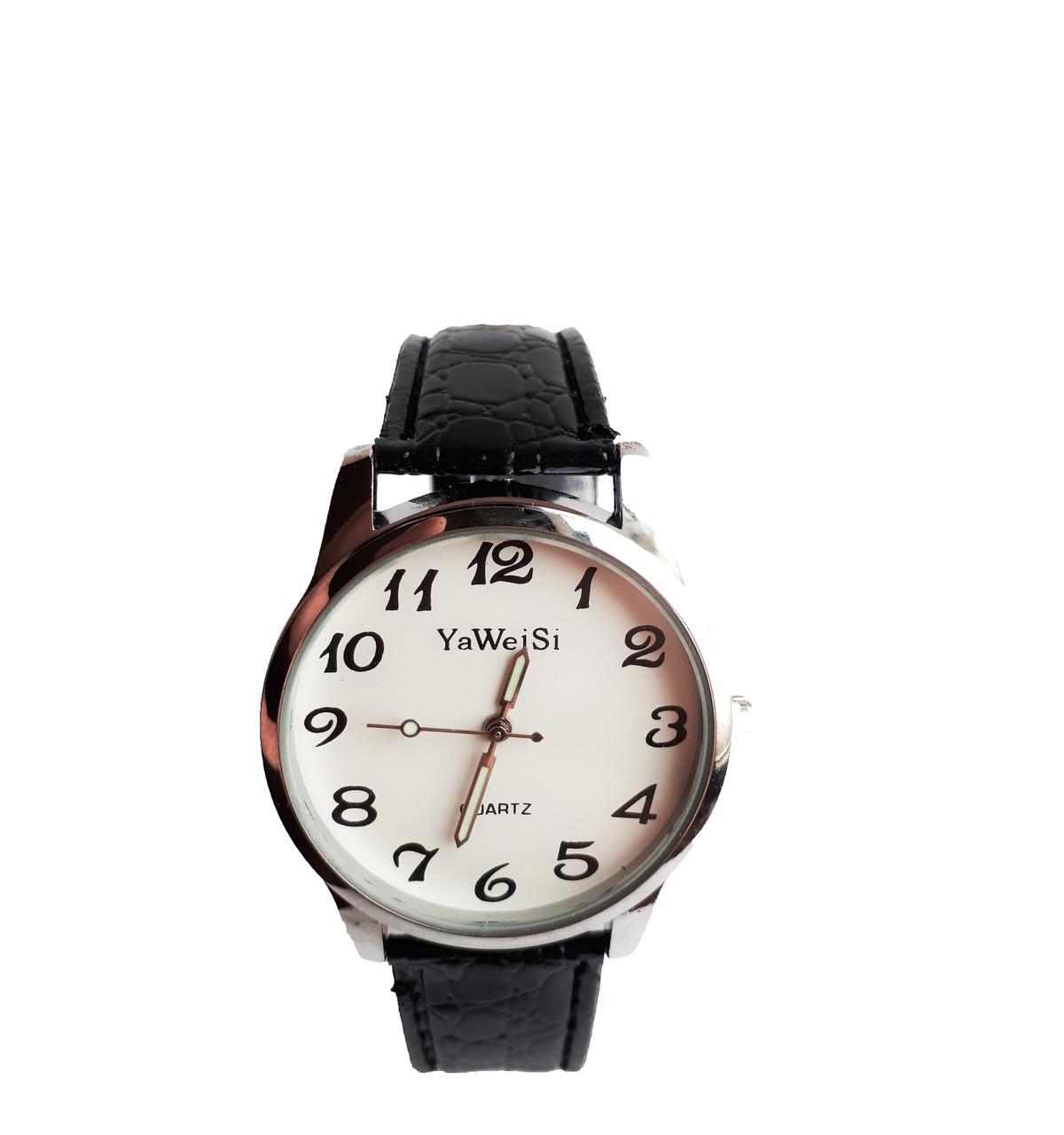 Часы YaWeiSi  металлик мужские кварцевые на черном ремешке опт