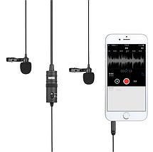Профессиональный двойной петличный микрофон для телефонов BOYA BY-M1DM 4 метра длина провода (оригинал), фото 2