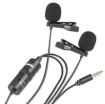 Профессиональный двойной петличный микрофон для телефонов BOYA BY-M1DM 4 метра длина провода (оригинал), фото 3