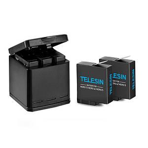 Зарядное устройство TELESIN для аккумуляторов Gopro Hero 5/6/7+ 3 Аккумулятора TELESIN 1220 мА