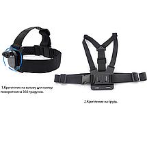 Кріплень для GoPro та інших екшн камер (кріплення на голову(360 градусів)+кріплення на груди), фото 3