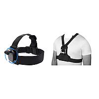 Креплений дляэкшн камер (крепление на голову(360 градусов)+крепление на грудь (с центральным крепежом)), фото 1