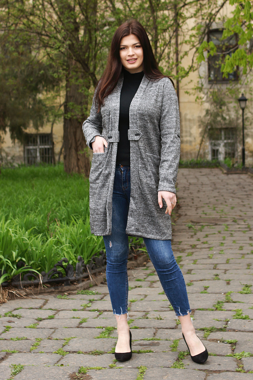Кардиган длинный женский ботал серого цвета  от YuLiYa Chumachenko