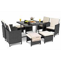 Садовая мебель плетенная PARMA Black мебель из искусственного ротанга для дома, сада, кафе и ресторанов